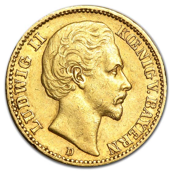1872-1878 Germany Gold 20 Mark Bavaria Ludwig II Avg Circ